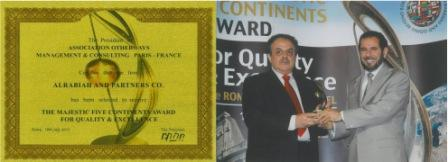 Dr Alrabiah Receiving Majestic Five Continents Award, Italy