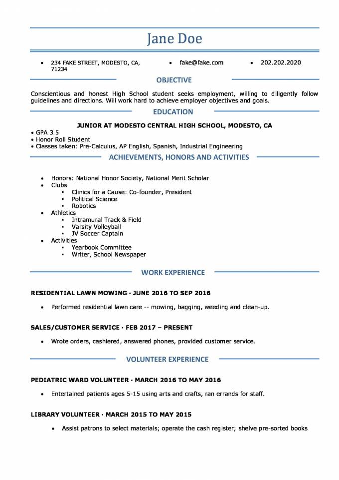 Significance of high school resume in proficient vocation